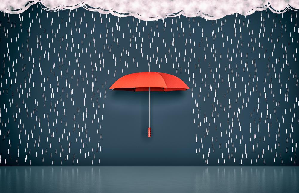 Umbrella shielding from rain
