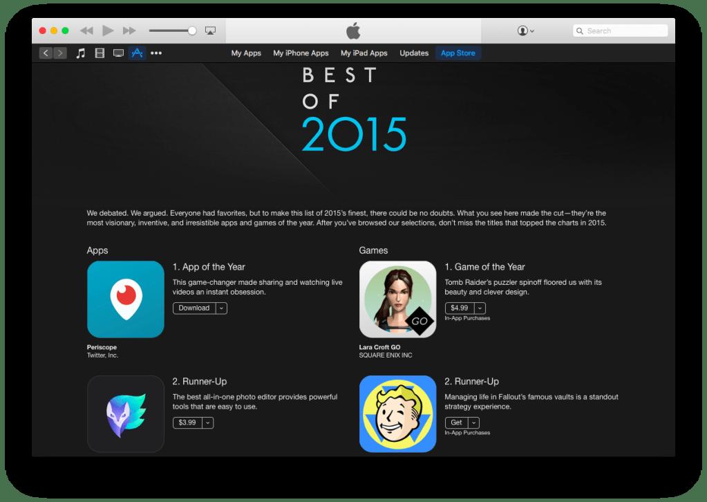 apple 2015 best apps