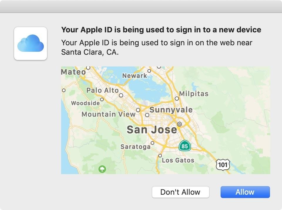 apple 2fa location