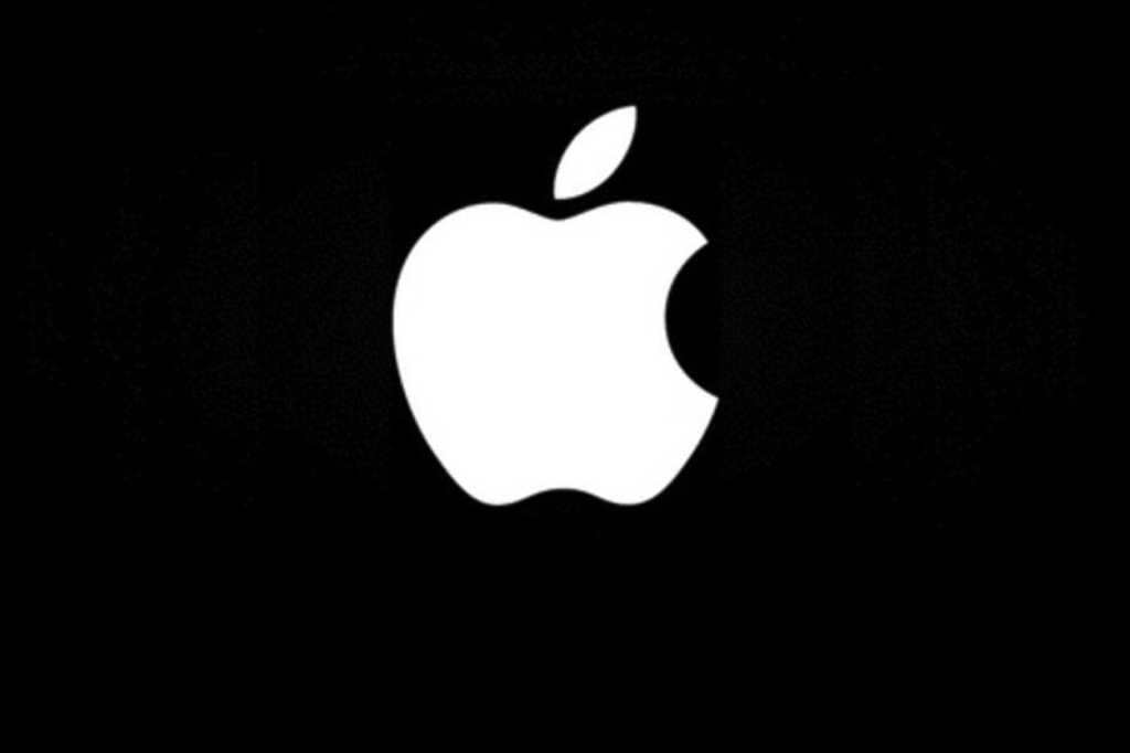 apple logo black white