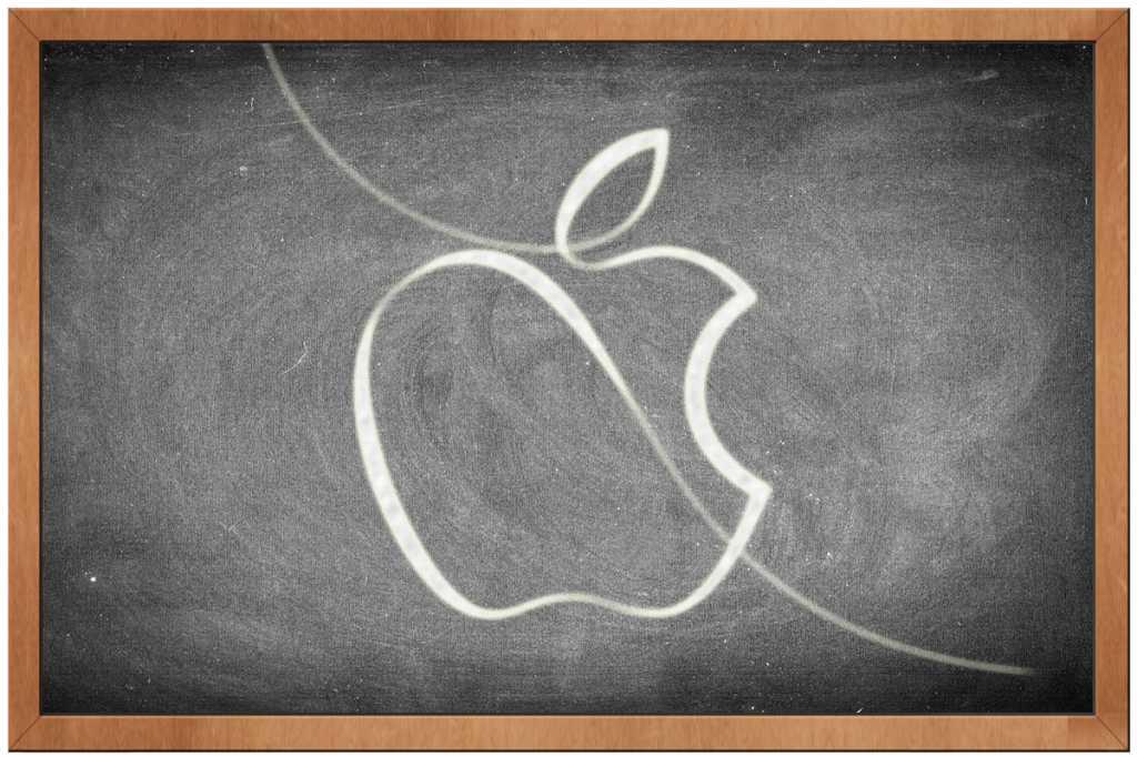 apple logo chalkboard