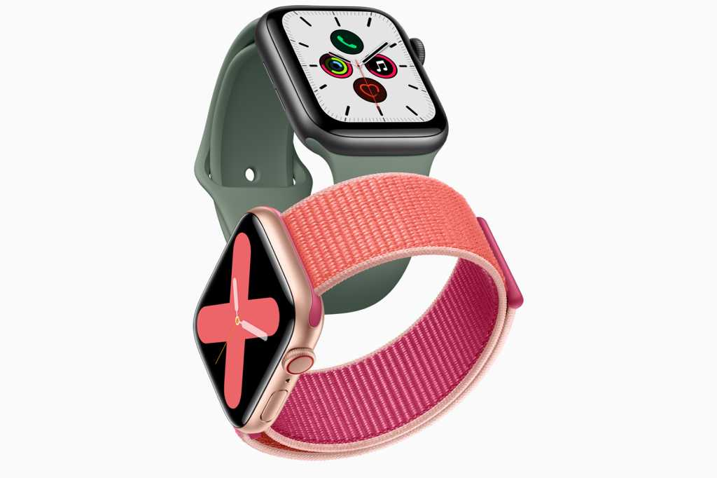 apple watch series 5 gold aluminum case pomegranate band and space gray aluminum case pine green ba