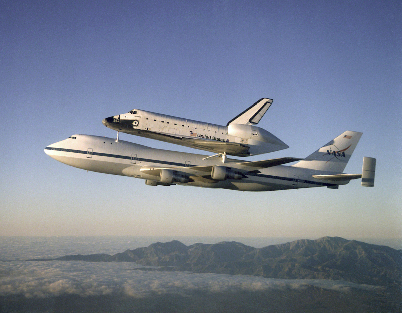 Space Shuttle on top of 747