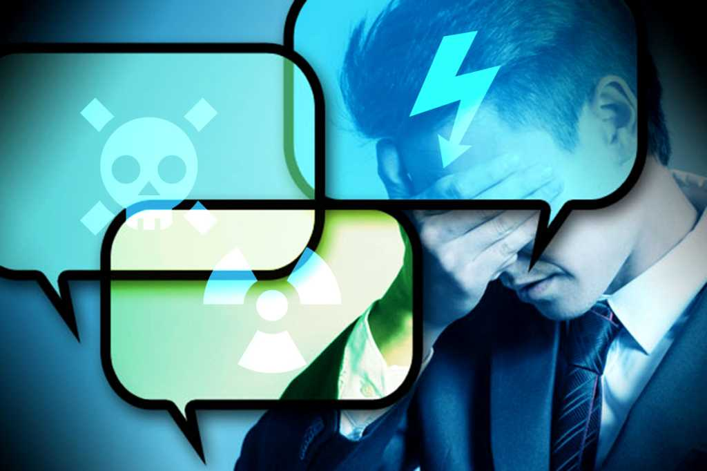 Social media threats / risks / dangers / headaches  >  Text bubbles bearing danger signs