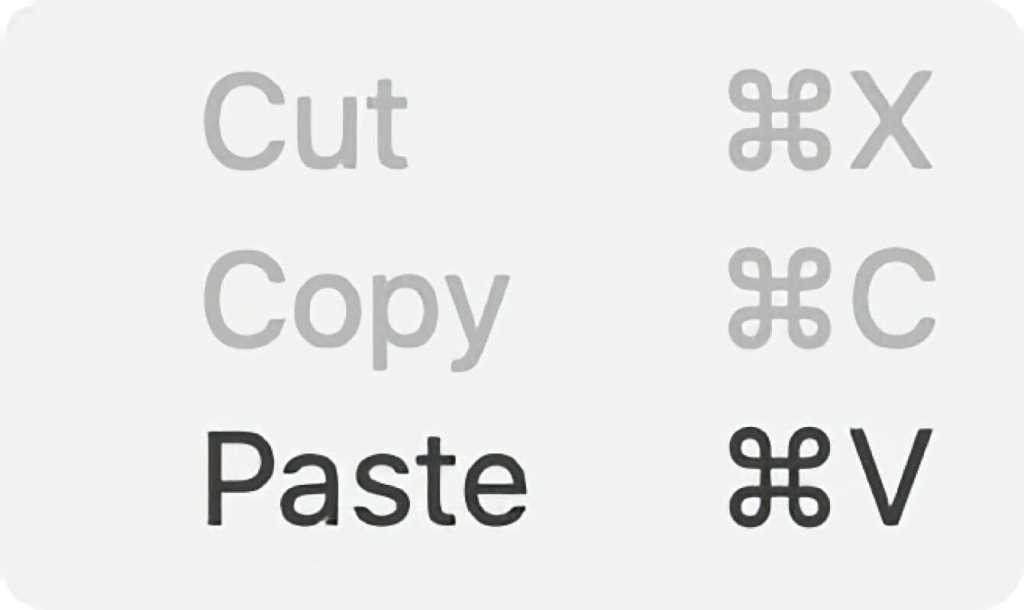 cut copy paste mac