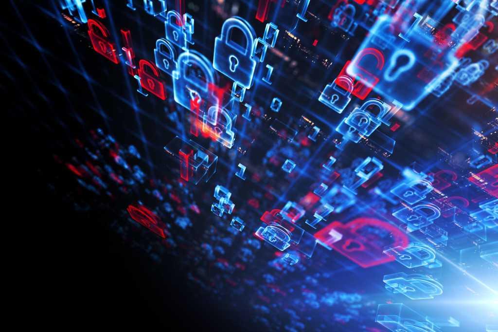 cyber security abstract wall of locks padlocks
