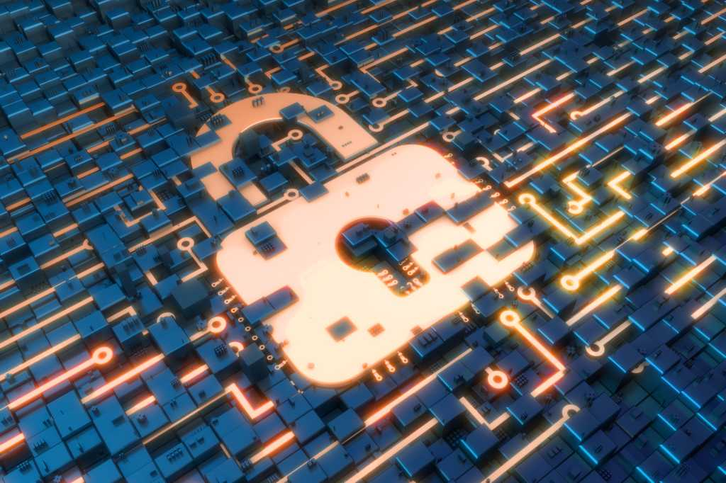 Cybersecurity  >  abstract network of circuits data and lock
