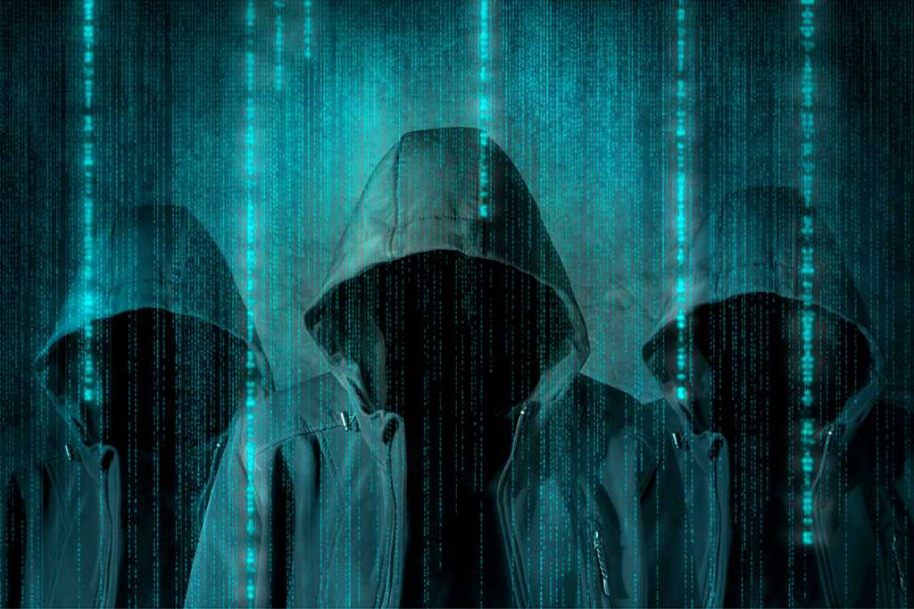 group of hackers in digital environment