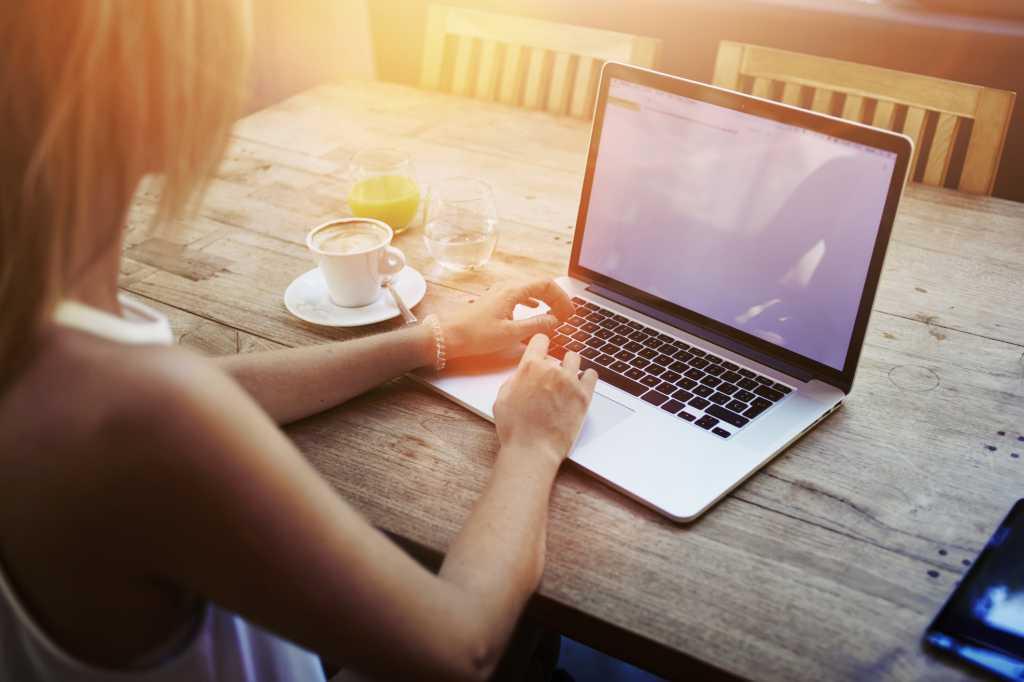 laptop work women business student