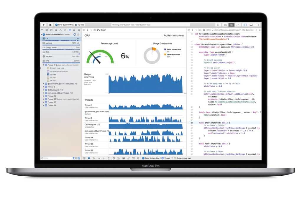 macbook pro 2018 xcode stock