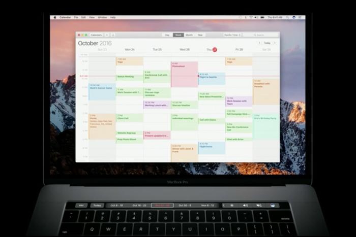 macbook pro touch bar calendar