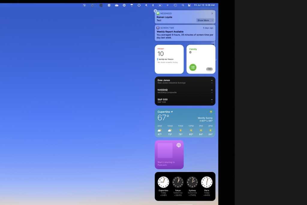 macos big sur notification center screen