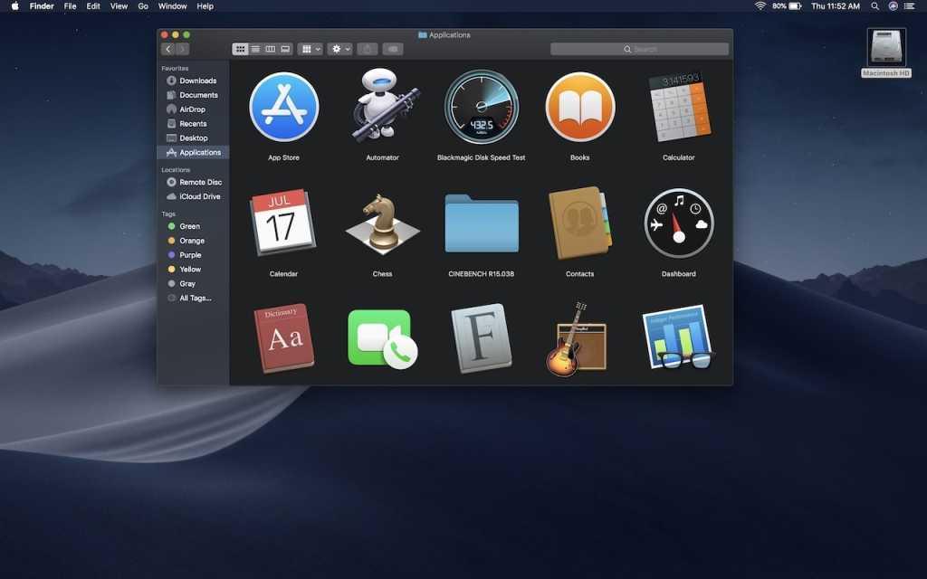 macos mojave dark mode desktop