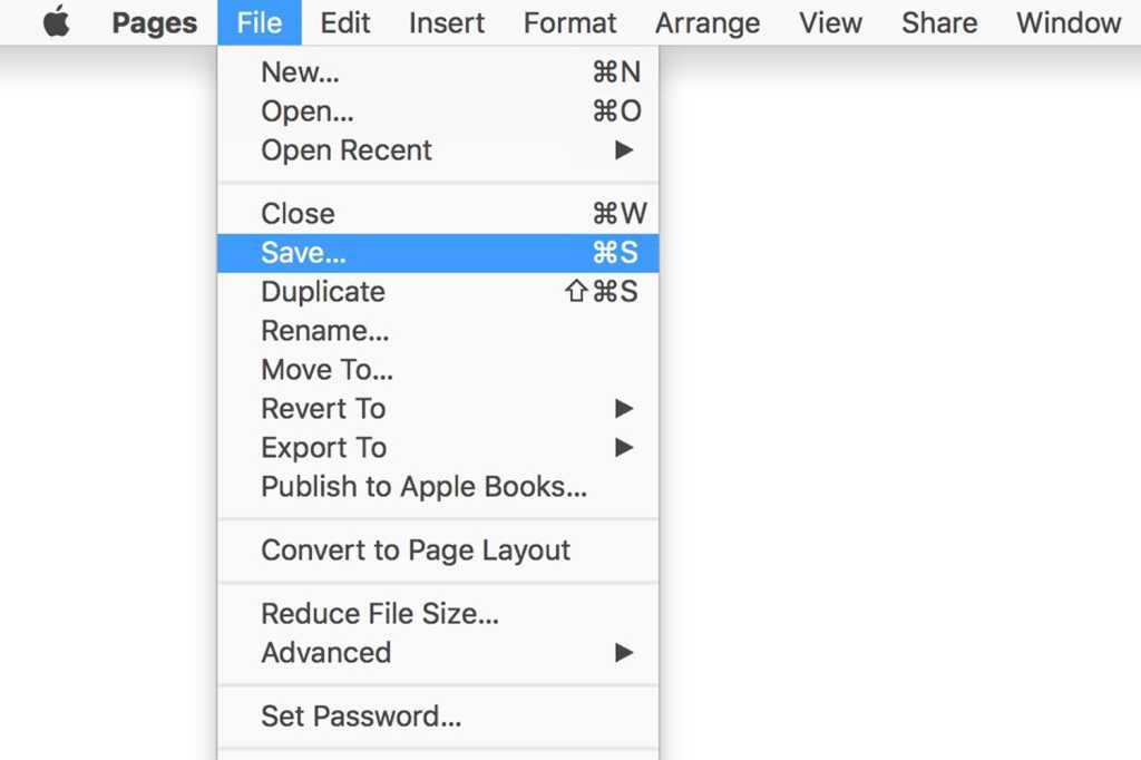 pages save menu