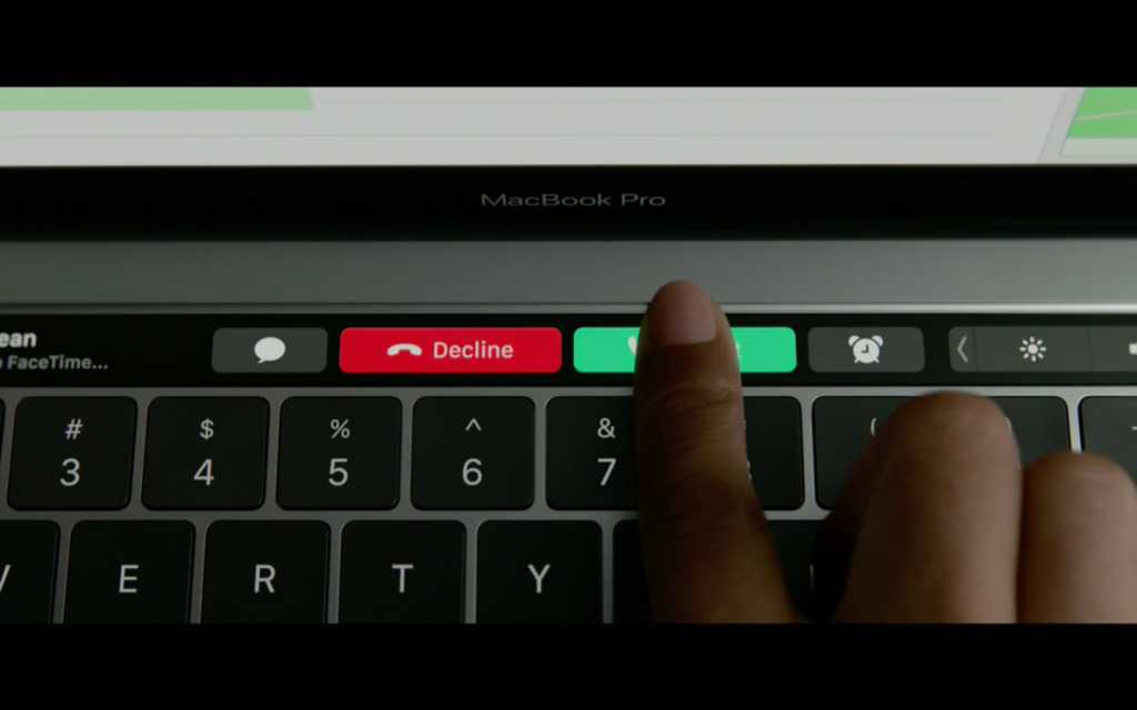 touch bar answering a call