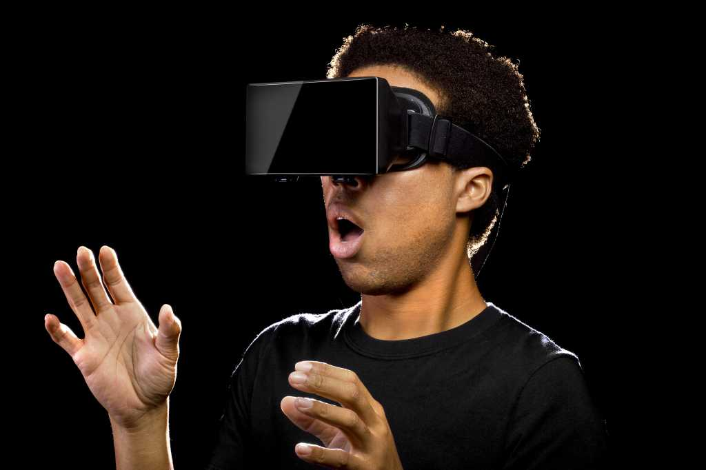 virtual reality headset on gamer