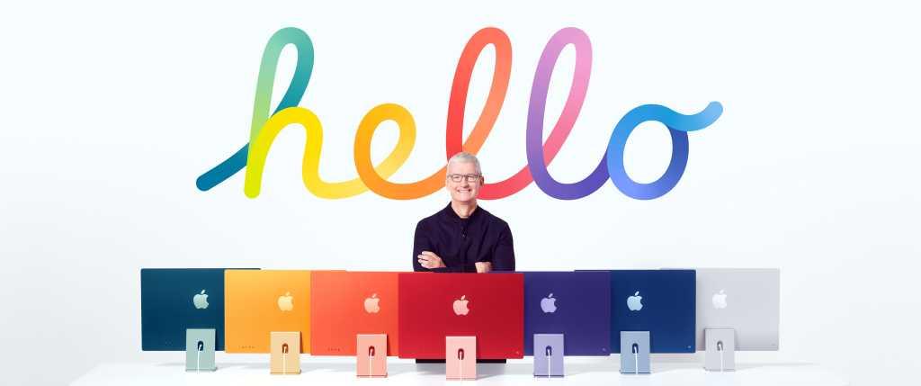 Tim Cook and some iMacs