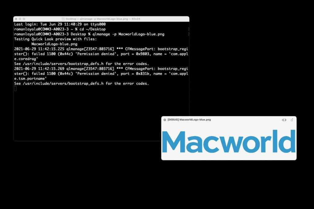 macOS Big Sur Terminal Quick Look