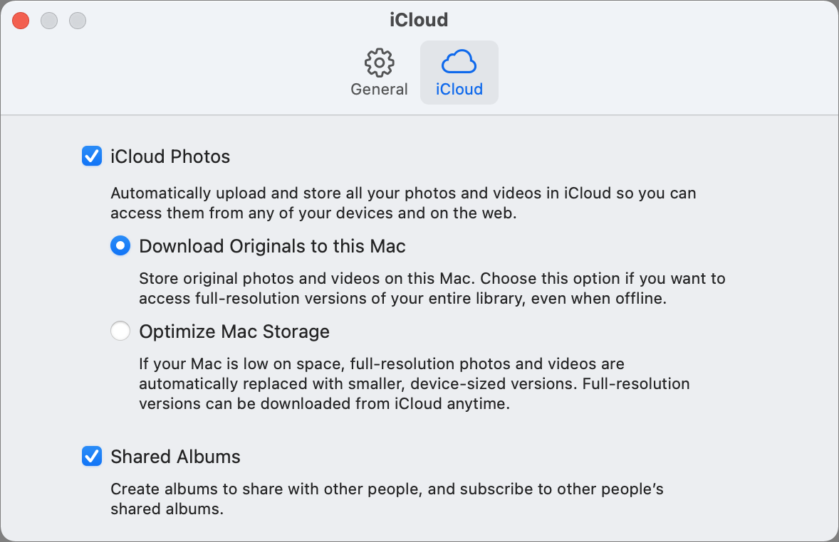 Photos for macOS iCloud preferences