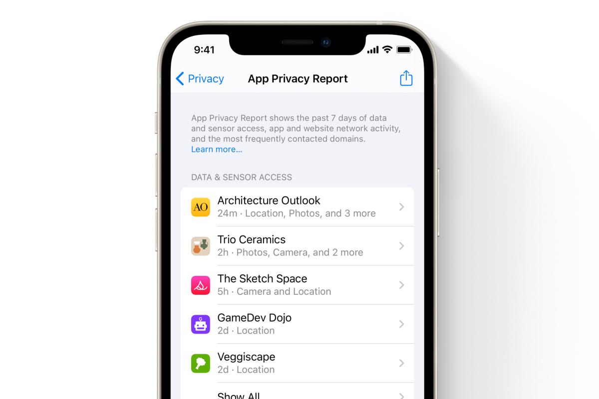ios 15 app privacy report