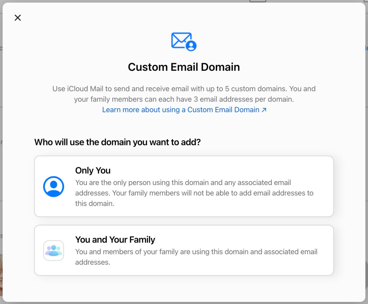 icloud custom domain